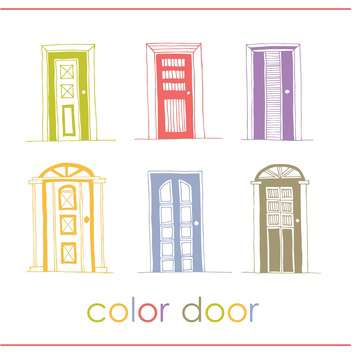 Set of color vector doors background - Free vector #135307