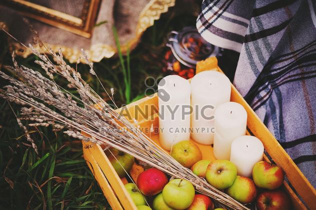 Apples, candles and herbs in wooden box - Free image #136197