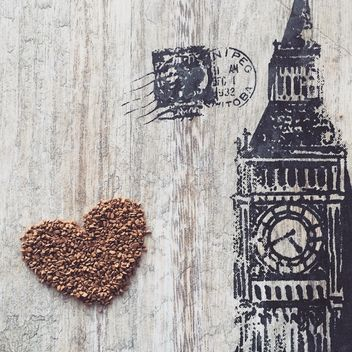 Heart of coffee on background with Big Ben - image #136687 gratis