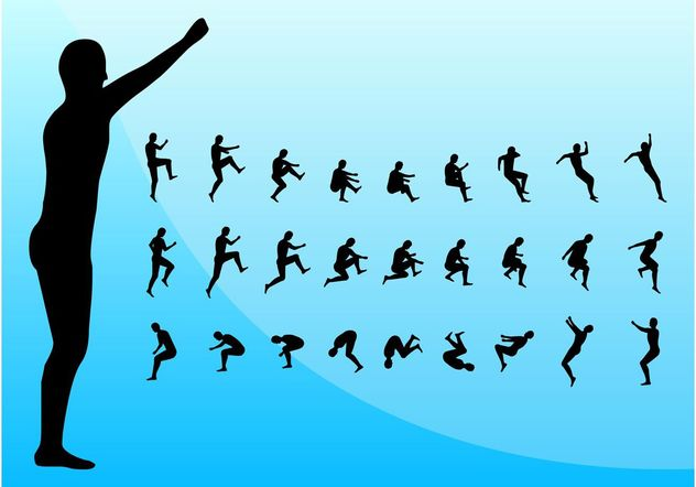 Jumping Silhouettes - Free vector #138937