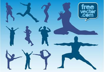 Workout Silhouettes Vector - Free vector #138947