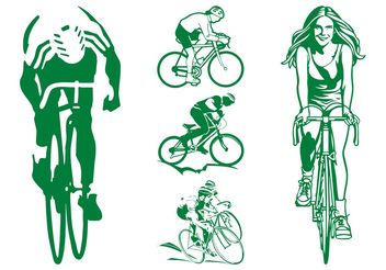 Cycling People Graphics - Free vector #138987