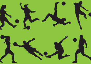 Woman And Man Soccer Silhouettes - Free vector #139087
