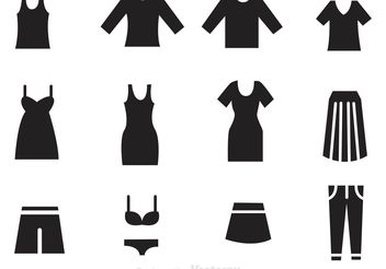 Woman Clothes Black Icons - бесплатный vector #139107