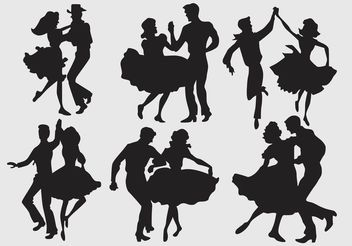 Silhouette Square Dancers - Free vector #139127