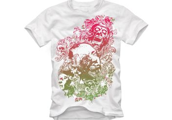 Design Vector for Tshirts - Floral Zombie Nightmare - Kostenloses vector #139317