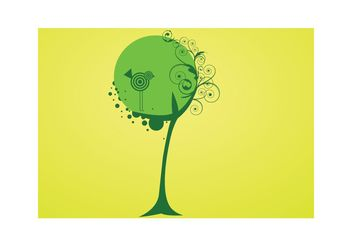 Vector tree and bird - vector gratuit #139437