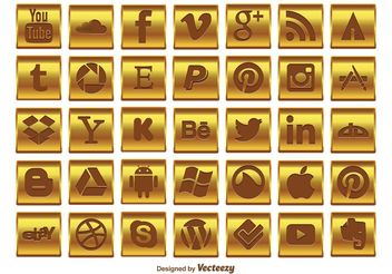Gold Social Media Icon Set - Free vector #140037