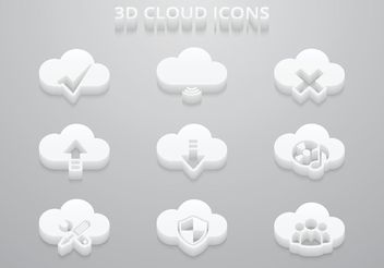 Free 3D Cloud Vector Icons - vector gratuit #140817