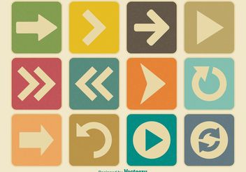 Vintage Arrow Icon Set - vector gratuit #140867