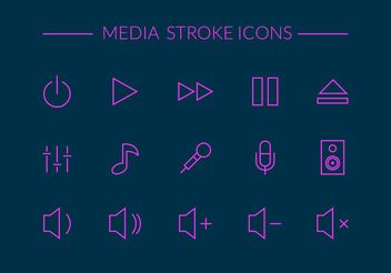 Free Media Stroke Vector Icons - Free vector #141047