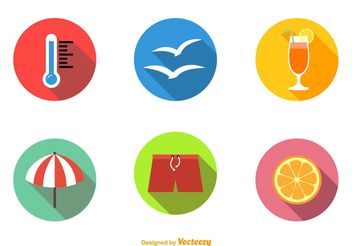 Summer Beach Flat Icons - Free vector #141067