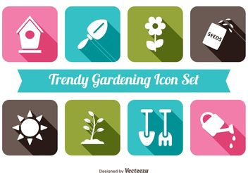 Trendy Gardening Icon Set - vector gratuit #141077
