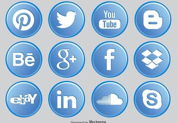 Social Media Button Icons - vector gratuit #141197