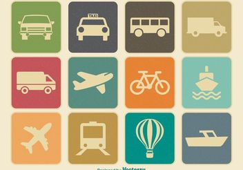 Vintage Retro Transporation Icon Set - vector #141207 gratis