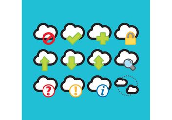 Colorful Cloud Computing Vector Icons - Free vector #141267