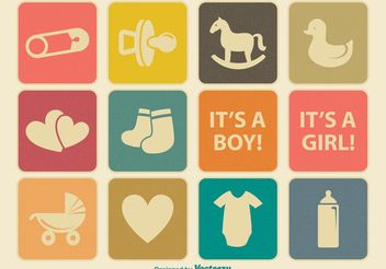 Vintage Baby Icon Set - Free vector #141277