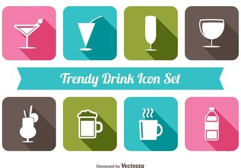 Trendy Drink Icon Set - vector gratuit #141297