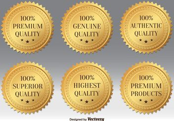 Gold Premium Quality Badges - vector gratuit #141717