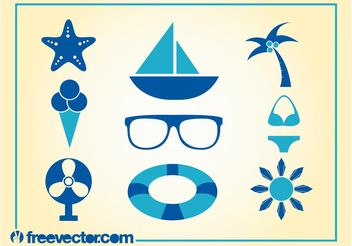 Summer Icons Vector - Free vector #142127