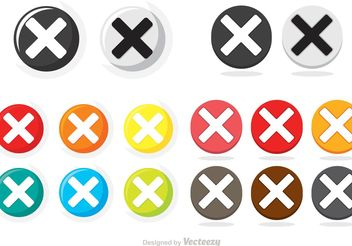 Colorful Cancelled Circle Button Icons Vector Pack - vector gratuit #142277