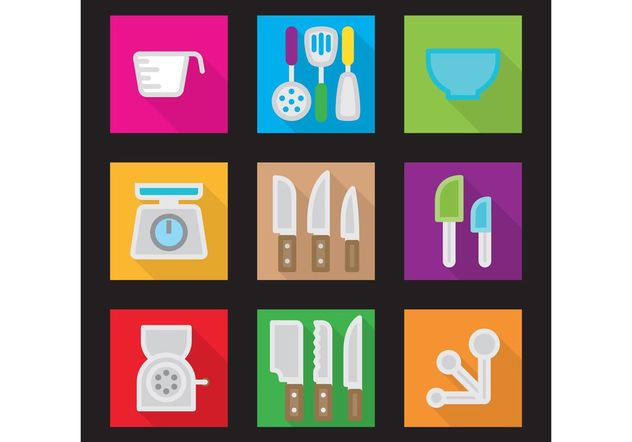 Kitchen Vector Flat Icons - Free vector #142417