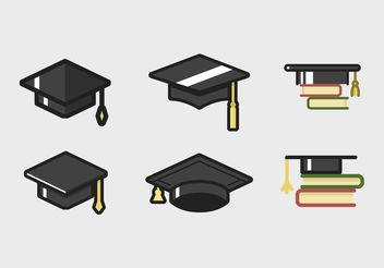 Graduate Cap Icon Set - Free vector #142447