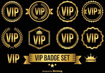 Gold VIP Badges / Icons - Free vector #142457