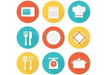 Free Flat Kitchen Vector Icons - vector gratuit #142737