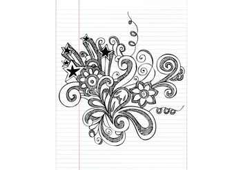 Hand Drawn Notebook Doodle Flower Vector Illustration - vector gratuit #143087