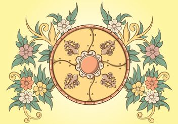 Floral Ornaments Shield - Free vector #143147