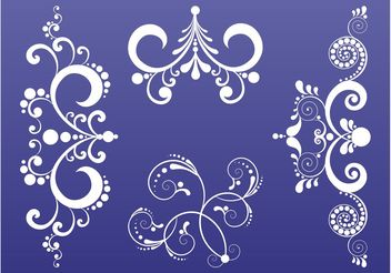 Swirling Plant Scrolls Set - Free vector #143337
