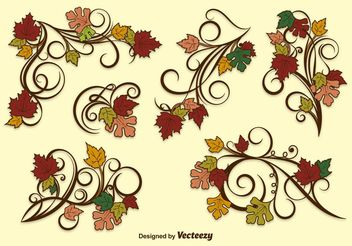 Autumn Leaf Vector Ornaments - Free vector #143417
