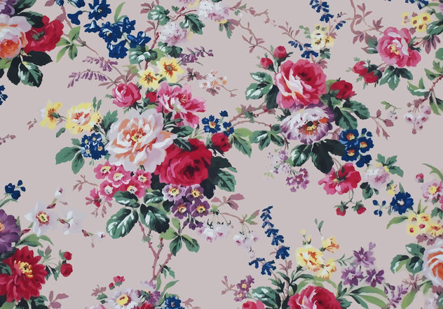 Beautiful Vintage Roses Textile Vector Background - Free vector #144307