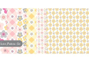 Flowers And Buttons Pattern Vector Set - Free vector #144447