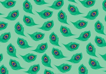 Green Tail Peacock Pattern Vector - vector gratuit #144467