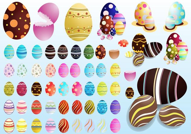Decorated Eggs - Free vector #144997