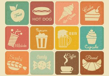 Free Retro Drink And Food Vector Icons - Free vector #145017