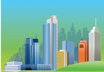 City Skyline Vector Graphics - vector gratuit #145127