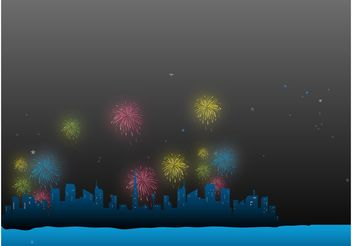 Fireworks In The City - vector gratuit #145187
