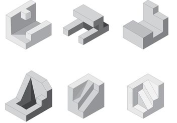Free Isometric Vector Shapes - Free vector #145447
