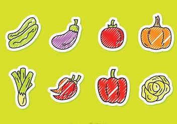 Scribble Vegetable Vector Style Icons - Free vector #145537