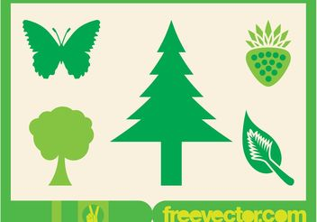 Green Nature Icons - vector gratuit #145737