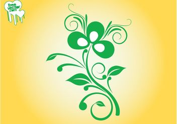 Swirling Plant Design - vector gratuit #145797