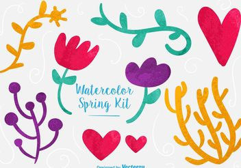 Watercolor Vector Floral Graphics - Free vector #145837