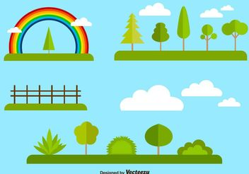 Flat forest and nature elements collection - vector gratuit #145907