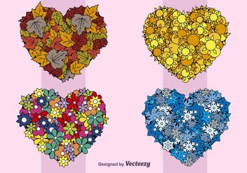 Seasons Hearts - vector #146557 gratis