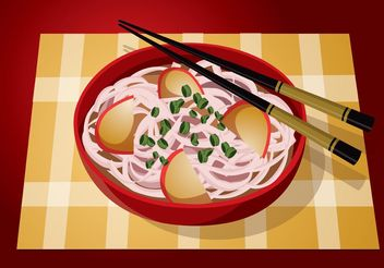 Red Bowl Noodle Vector Food - Kostenloses vector #146817