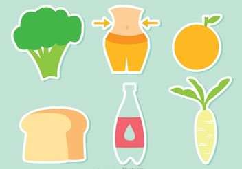 Healthy Food Diet Vector Icons - vector #146897 gratis