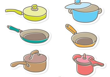 Cartoon Cooking Pan Vector Pack - Kostenloses vector #146967